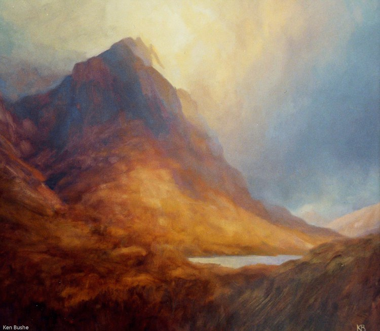 Mountain and Cloud - Oil painting