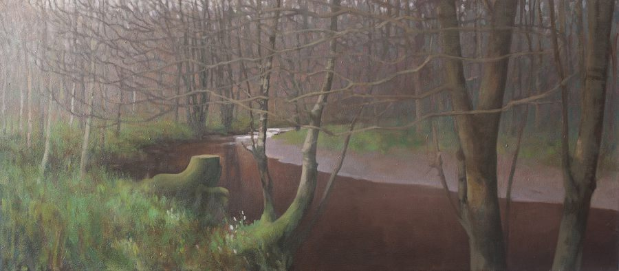 OIl painting landscape panorama - Den of Alyth