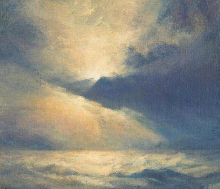 Oil painting of wind sky and clouds