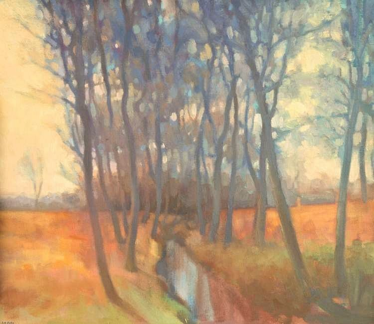 Oil painting of trees  - As the sunshine flows into trees