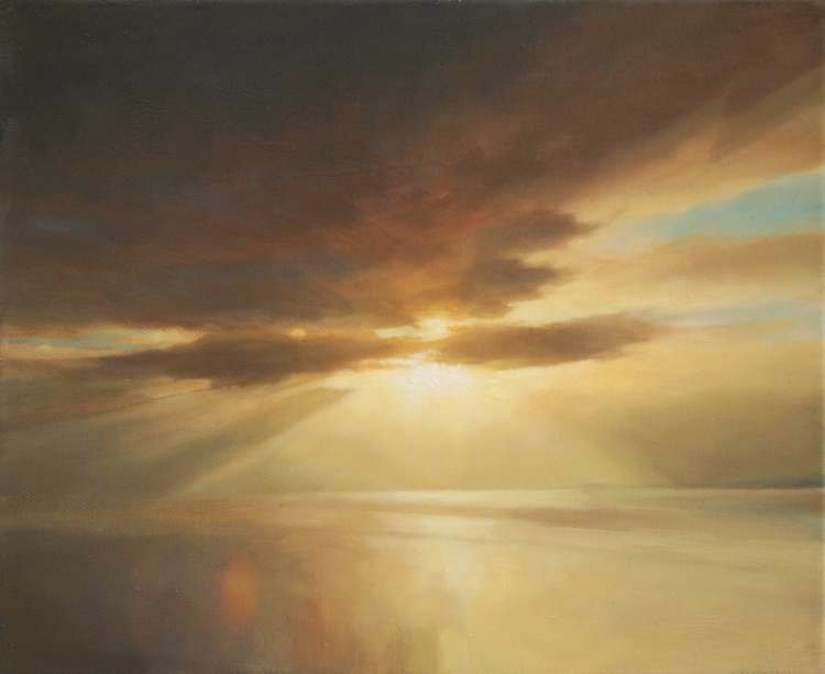 Painting of sun and cloud - sky composition - oil painting