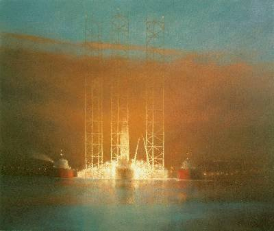 Commissioned Painting - Oil Rig Gorrila 7 passing Broughty Ferry