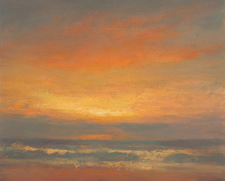 Eastern Shore - Dawn rising over the North Sea, Oil painting of Sky