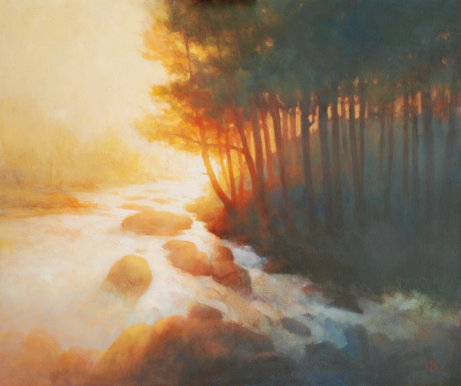 Falls at Killin in strong sunlight Oil painting
