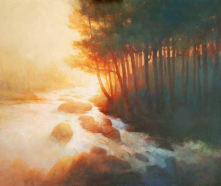 Paintings of rivers. Falls at Killin. Landscape painting