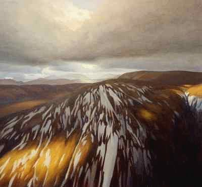 contemporary landscape painting of mountain - Glenshee