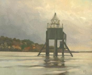Oil painting of Larick Beacon from Badger, Broughty Ferry
