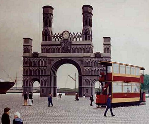 Mural showing Royal Arch, Dundee. Acrylic, Urban Landscape