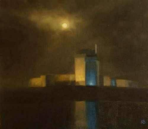 Broughty Castle at night - Nocturne Broughty Castle - Oil on Canvas