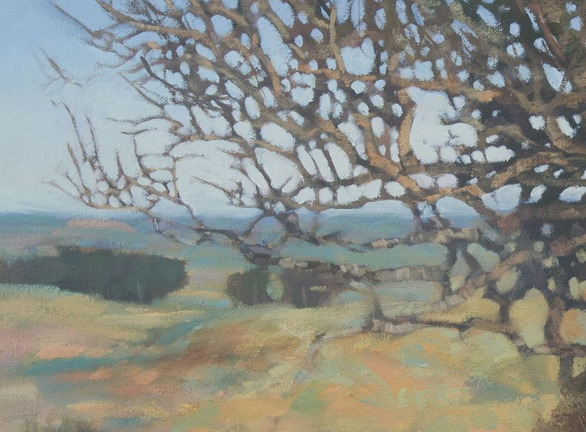 Old Oak Tree at Normans Law Fife. Detail. Oil landscape painting of trees