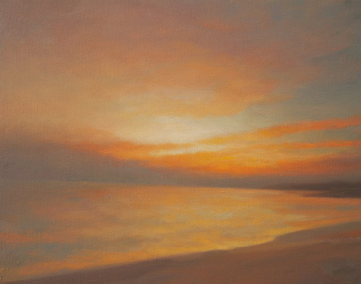 Oil painting of water and sunset - On Pebble Beach