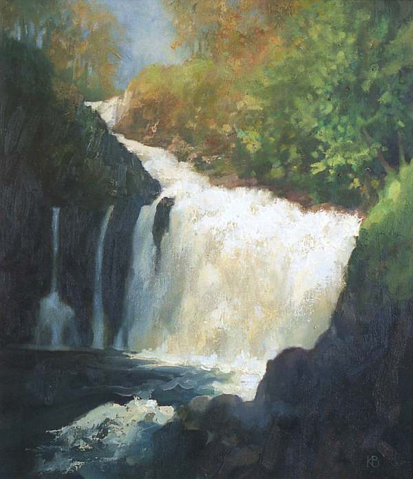 Painting of Waterfall , Outdoor oil painting of waterfall at Reekie Linn, Alyth, Angus Scotland