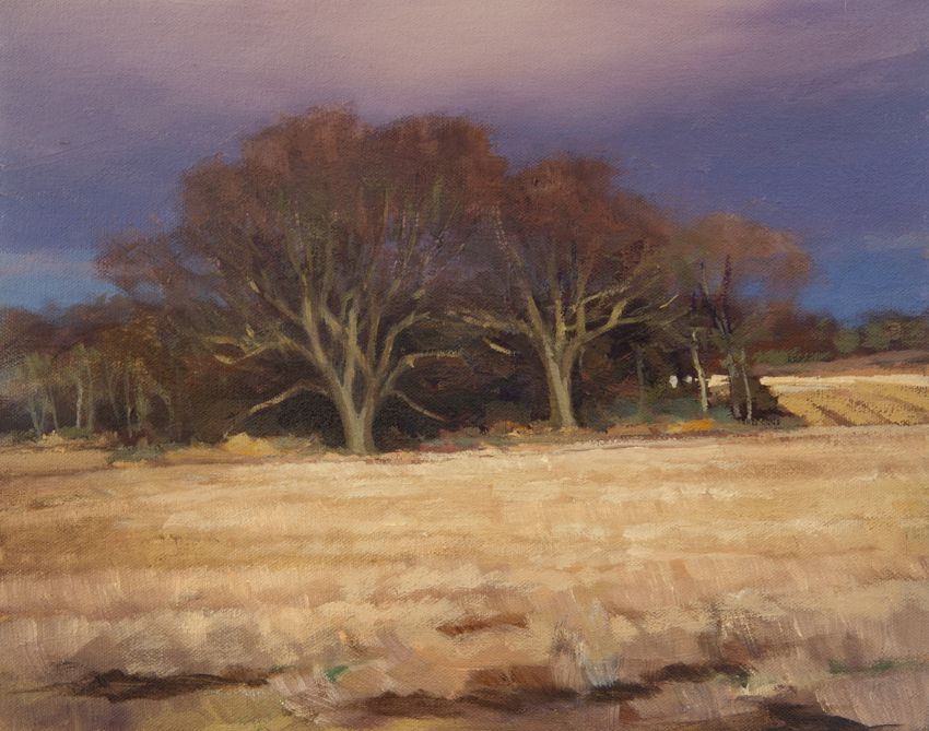 Outdoor oil landscape painting of trees and stubble field near Logie