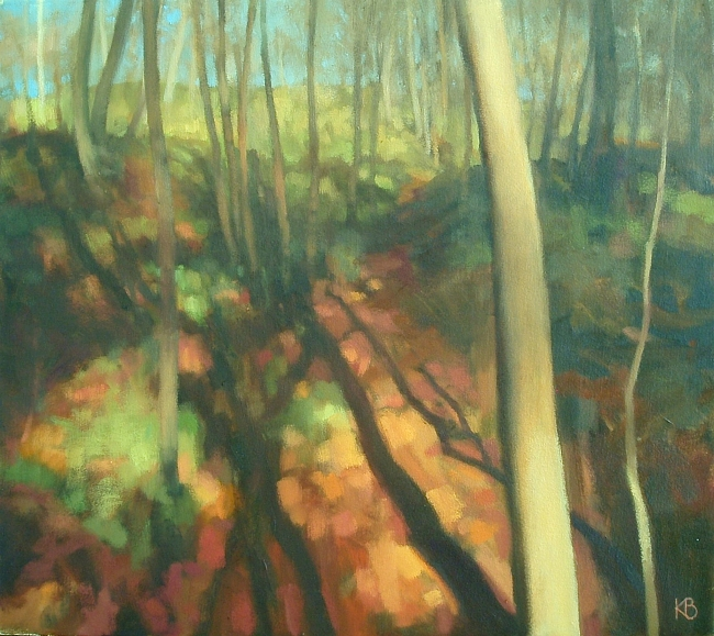 Landscape Painting of woodland path in Sunlight