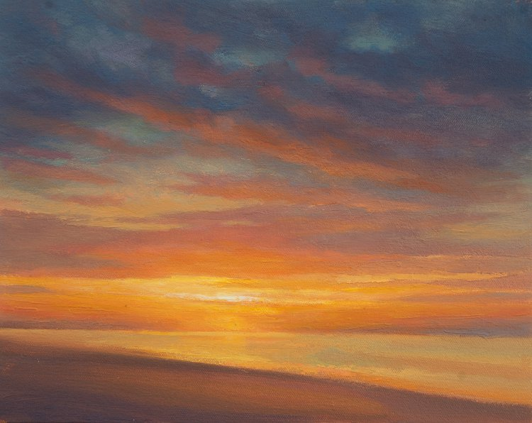 Sunrise from the Ferry, Sky painting of dawn. Colour study in Oil