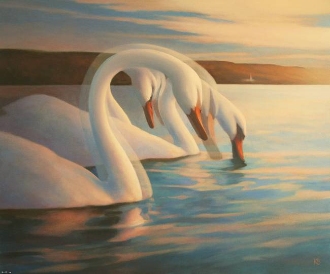 Oil Painting of Swans at Pebble Beach Broughty Ferry