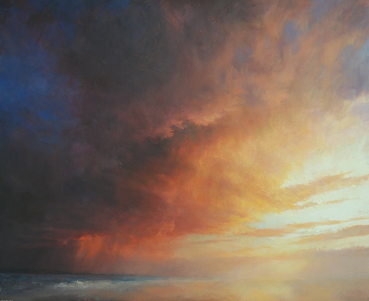 Oil painting from Broughty Ferry beach - The Dimming of the Day, Broughty Ferry