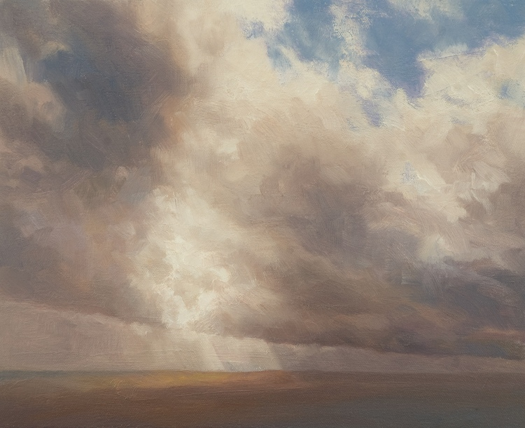 Oil painting of the mercurial sky near Dun Moss