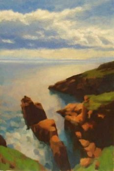 On the spot oil painting of cliffs - Arbroath