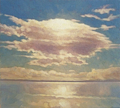 Oil painting of single cloud