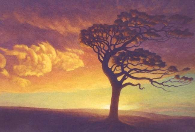 Tree and Sunrise painting