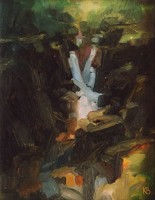 Waterfall by Loch Earn, Oil study, Contemporary landscape, Scotland