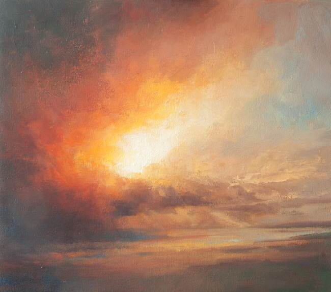 Oil painting commission  sunset sky and landscape