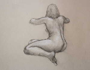 Life drawing, charcoal and white conte on paper