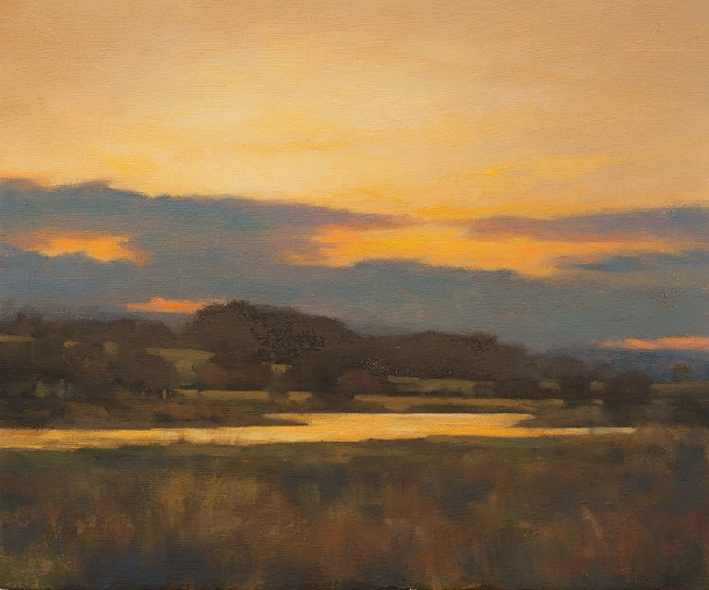 Oil painting of the Dawn rising over the River Ythan in AberdeenshireDawn River Ythan