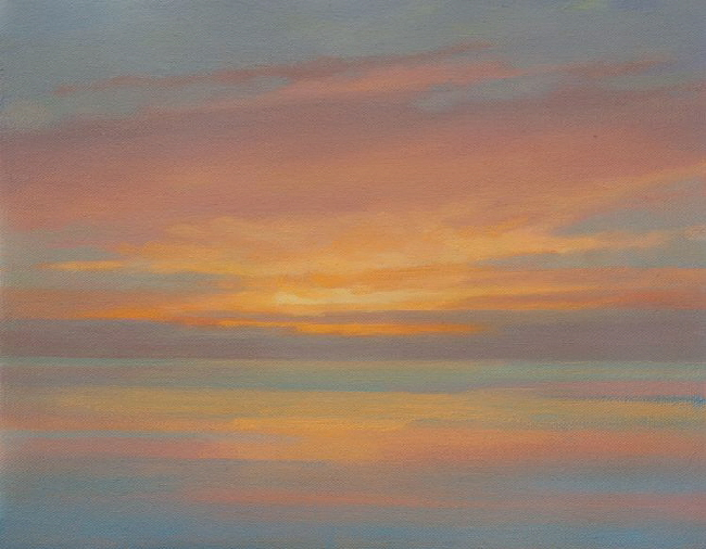 Sunrise on a Calm Morning  - small oil painting