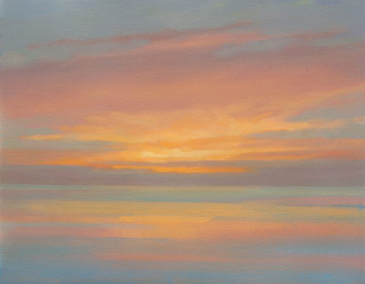 Dawn seascape Composition  Seascape painting of sunrise over the North sea