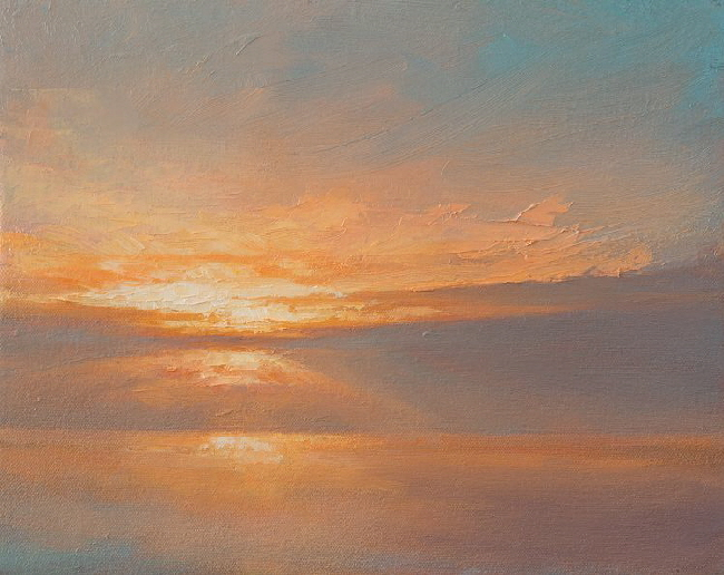 Outdoor landscape painting Dawn Study 7