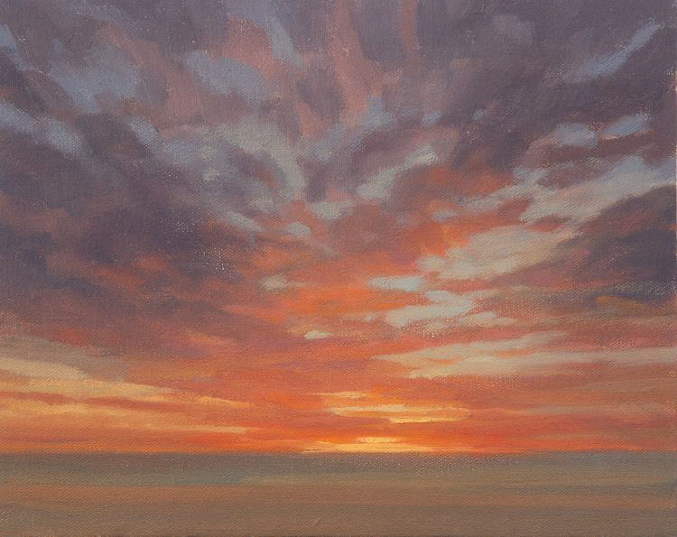 Dawn Study  8  - Outdoor oil painting of dawn from the shore of the River Tay