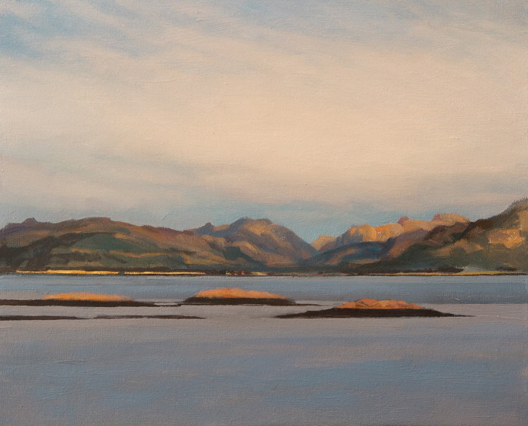 Paintings of mountains - Loch Linnie. Landscape oil painting on canvas