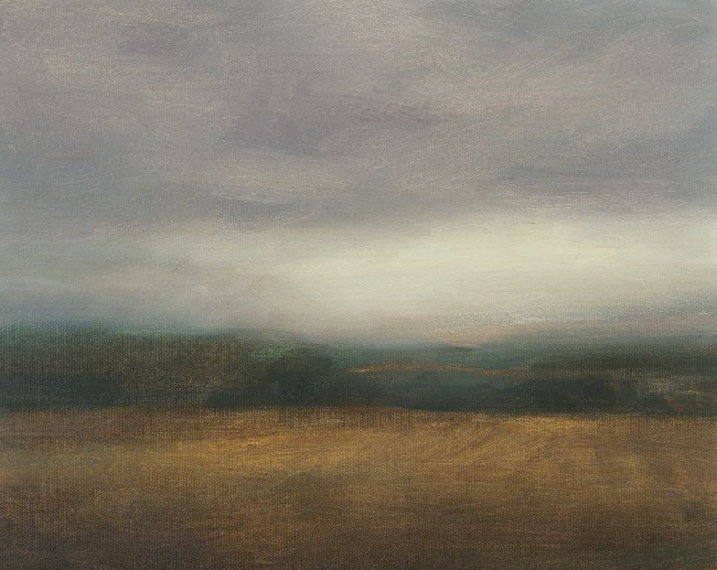Oil painting of low cloud at Sheriffmuir