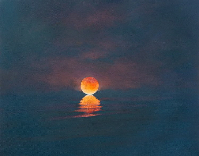 Oil painting of Lunar Eclipse over the sea.