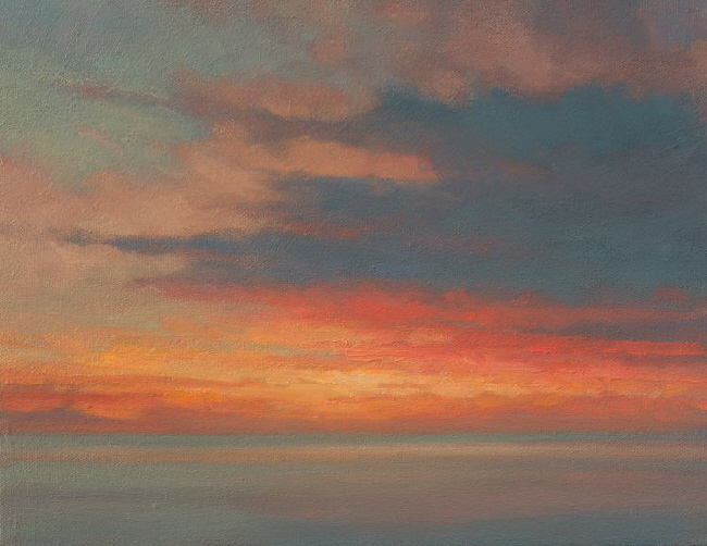North Sea Dawn Study  small outdoor oil painting