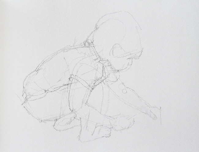 Pencil study of young child