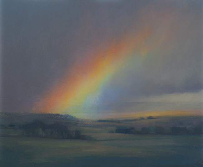 Oil painting of rainbow  at Sheriffmuir