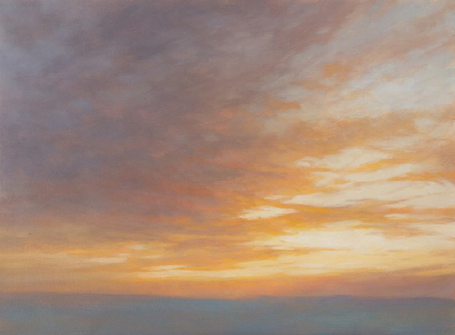 Red and Gold Sunset  Sky painting.
