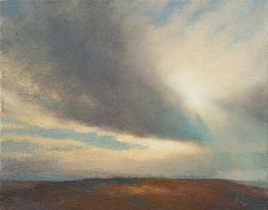 Sunburst.  Outdoor oil painting of sky and sun through clouds