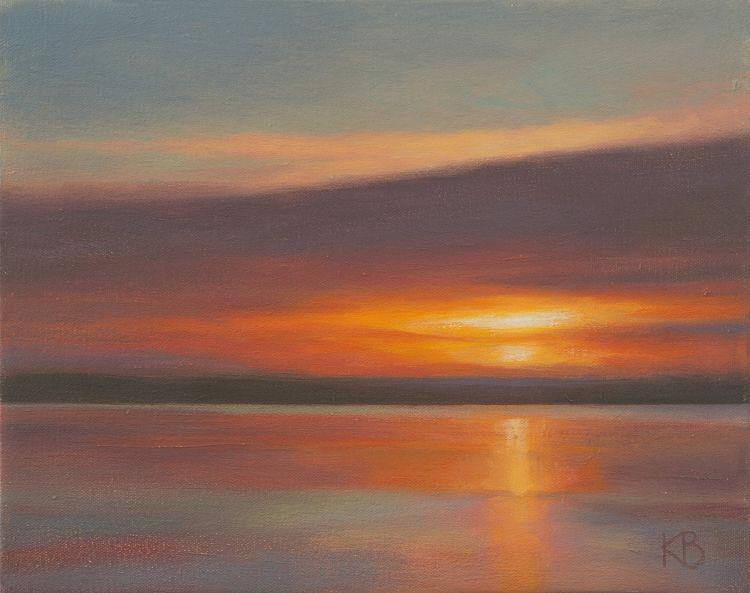Sunrise 7th January - Oil painting of sunrise over the water