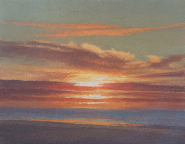 Oil painting of sunrise in October  over the sea