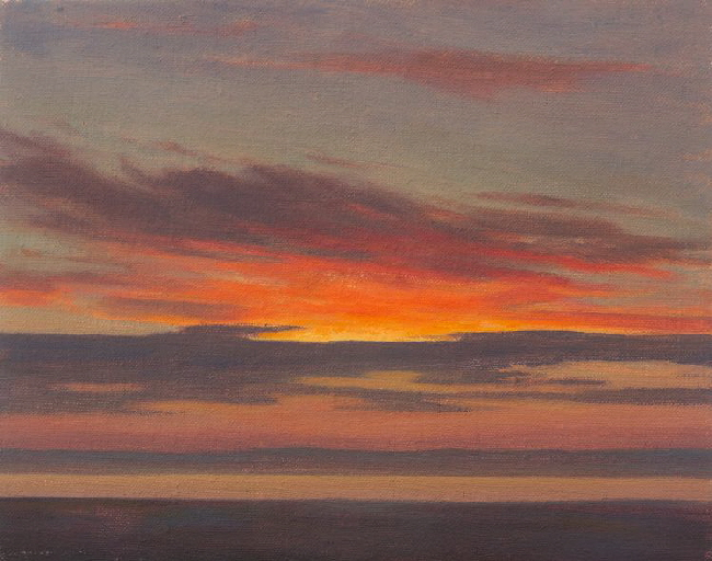 Sunset Study 4  Oil painting of sunset