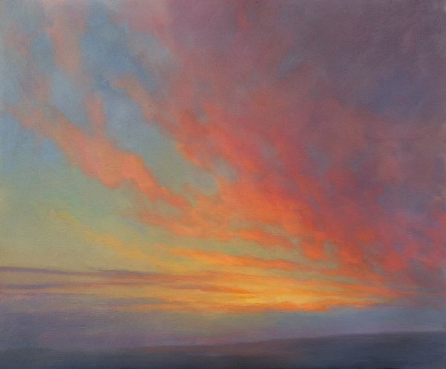 A painting of the close harmonies observed at sunset  - Sunset Study