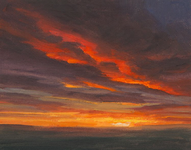 Sunset gazing on the Watcher.  oil painting of sunset