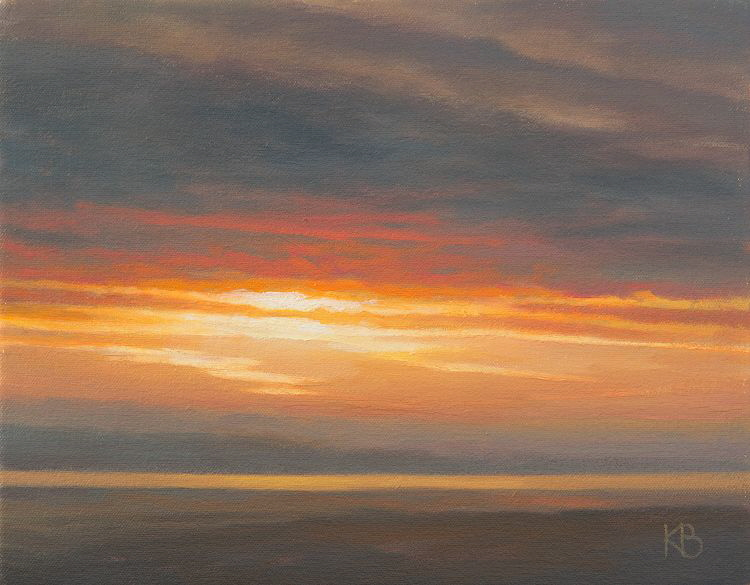 Sunset over the Tay,  Oil painting of sunset