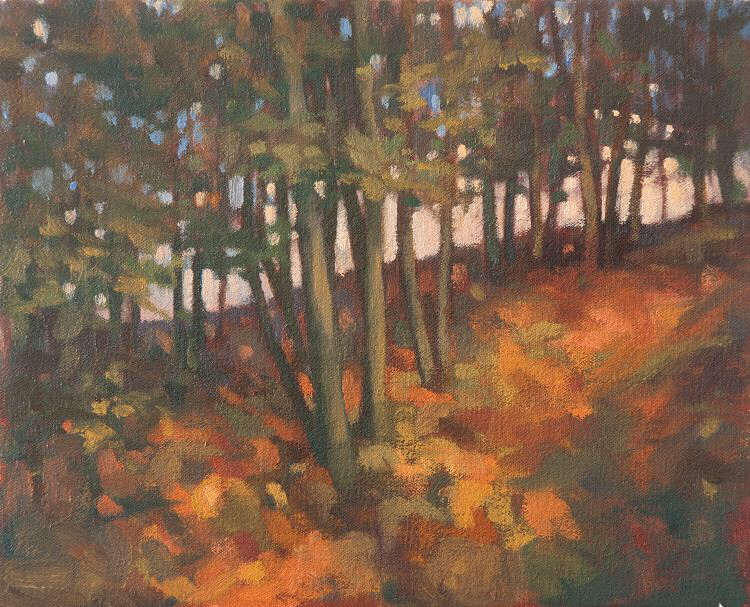 Oil painting of Trees at Alyth - lamdscape painting