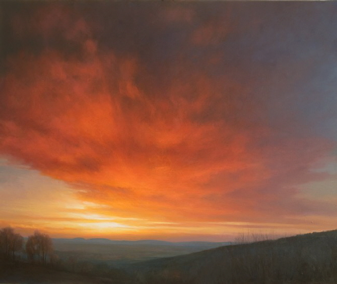 Oil painting commission- Sunset  sky over Malvern Hills